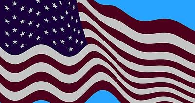 Abstract Burgundy Grey Violet 50 Star American Flag Flying Cropped Art Print