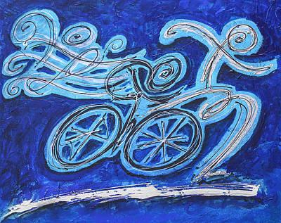 Ironman Painting - Abstarct Triathlon In Blue by Alejandro Maldonado