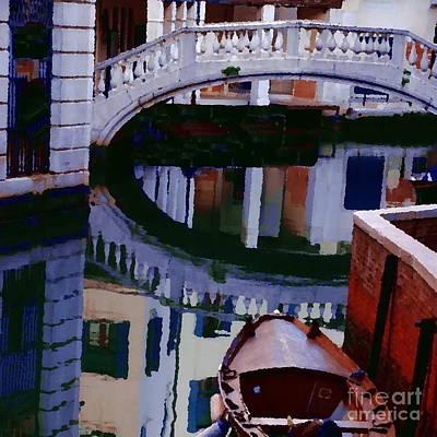 Photograph - Abstract - Venice Bridge Reflection by Jacqueline M Lewis