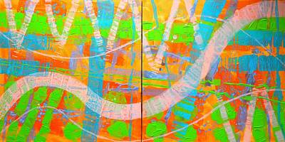 Abstract Expressionism Painting - Abstract  23614 Diptych I And II by John  Nolan