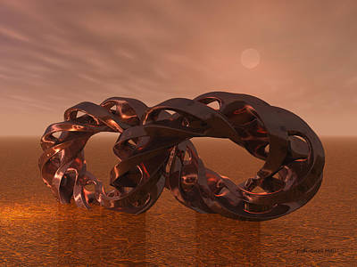 Digital Art - Abstract 331 A 3d Copper Sculpture by Judi Suni Hall