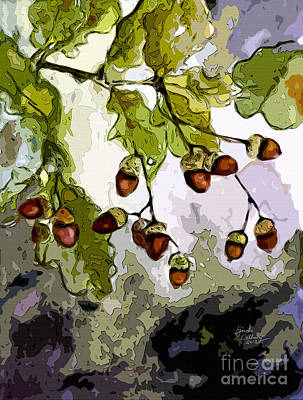 Nature Abstract Mixed Media - Abstract Acorns And Oak Leaves by Ginette Callaway