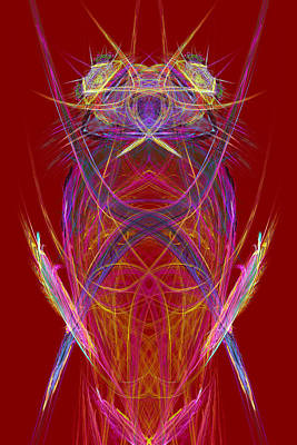 Computer Graphics Photograph - Abstract Alien Face On Red Background by Keith Webber Jr