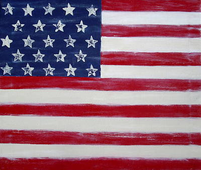 Abstract American Flag Painting Art Print by Holly Anderson
