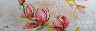Painting - Abstract And Magnolias-sold by Dian Paura-Chellis