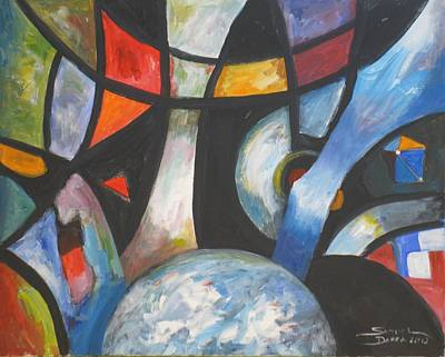 Painting - Abstract And The World by Samuel Daffa