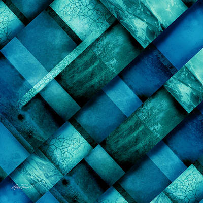 Abstract Collage Digital Art - abstract art Blue Square Three by Ann Powell