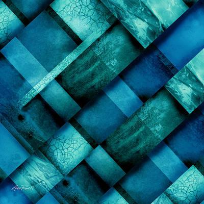 abstract art Blue Square Three Art Print by Ann Powell