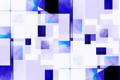 Digital Art - abstract - art- Blue Squares on White by Ann Powell