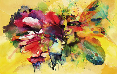 Faces Painting - Abstract Art by Catf