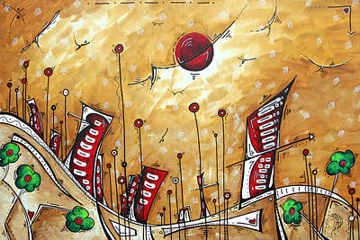 Abstract Art Cityscape Original Painting The Garden City By Madart Art Print