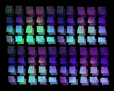 Color Block Digital Art - abstract - art- Floating Squares by Ann Powell