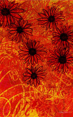 Digital Art - abstract - art- flowers - Daisies  by Ann Powell
