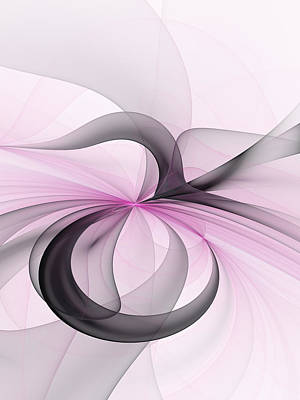 Abstract Art Fractal With Pink Art Print