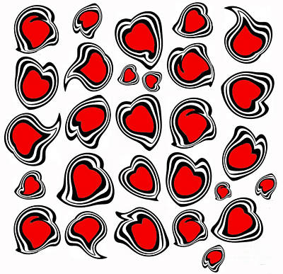 Hearts Black White Red No.386. Art Print by Drinka Mercep