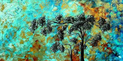 Abstract Art Landscape Metallic Gold Textured Painting Spring Blooms By Madart Original by Megan Duncanson