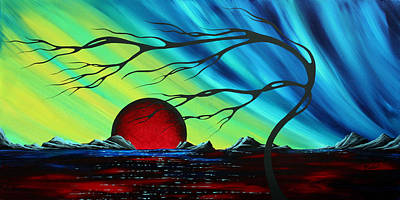 Shimmering Painting - Abstract Art Landscape Seascape Bold Colorful Artwork Serenity By Madart by Megan Duncanson