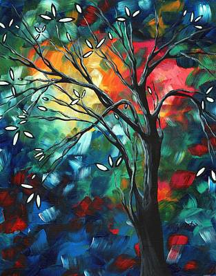 Abstract Art Original Colorful Painting Spring Blossoms By Madart Art Print by Megan Duncanson