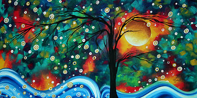 Abstract Art Original Landscape Painting Bold Circle Of Life Design Dance The Night Away By Madart Art Print by Megan Duncanson