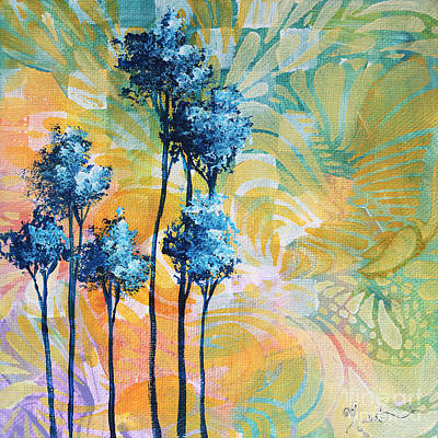 Abstract Art Original Landscape Painting Contemporary Design Blue Trees I By Madart Art Print by Megan Duncanson