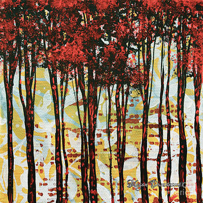 Abstract Art Original Landscape Painting Contemporary Design Forest Of Dreams I By Madart Original by Megan Duncanson