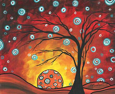 Abstract Art Original Landscape Painting Setting Sun By Madart Art Print by Megan Duncanson