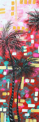 Abstract Art Original Tropical Landscape Painting Fun In The Tropics By Madart Art Print