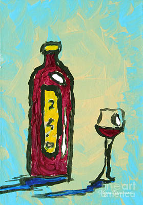Wine Painting - Abstract Art Original Wine Bottle Glass Painting Simple By Megan Duncanson by Megan Duncanson