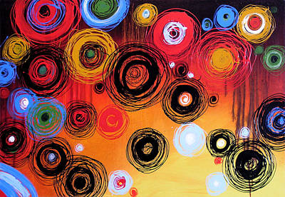 Drips Painting - Abstract Art Print .. Circling by Amy Giacomelli