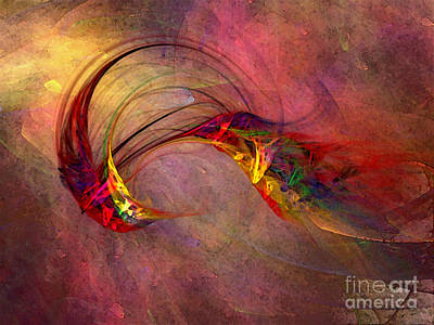 Warm Digital Art - Abstract Art Print Hummingbird by Karin Kuhlmann
