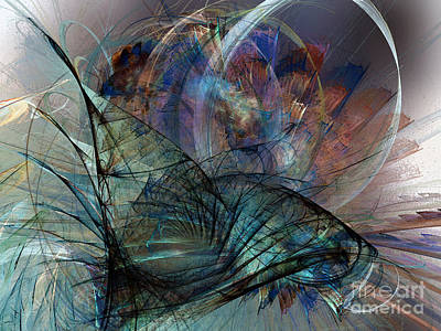 Contemplative Digital Art - Abstract Art Print In The Mood by Karin Kuhlmann