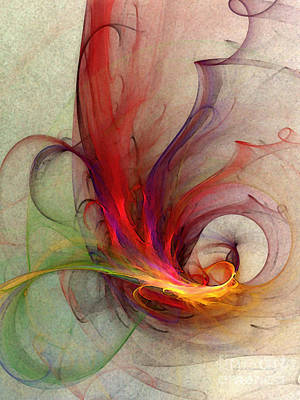 Expressionist Digital Art - Abstract Art Print Sign by Karin Kuhlmann