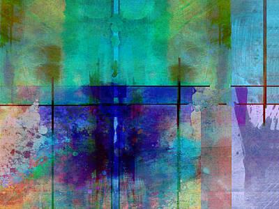 abstract - art- Rhapsody in Blue Art Print by Ann Powell