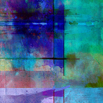 abstract-art-Rhapsody in Blue Square  Art Print by Ann Powell