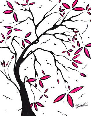 Abstract Artwork Modern Original Landscape Pink Blossom Tree Art Pink Foliage By Madart Art Print