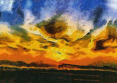 Abstract Seascape Digital Art - Abstract Avila Pier Sunset by Barbara Snyder