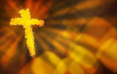 Abstract Background With A Fiery Cross Art Print
