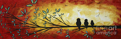 Abstract Bird Landscape Tree Blossoms Original Painting Family Of Three Art Print by Megan Duncanson