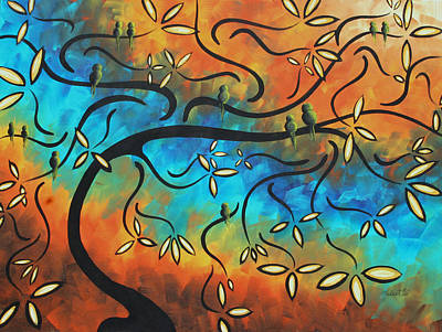 Brilliant Painting - Abstract Bird Painting Original Art Madart Tree House by Megan Duncanson