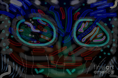 Phantasy Digital Art - Abstract Black Blue by Nina Prommer