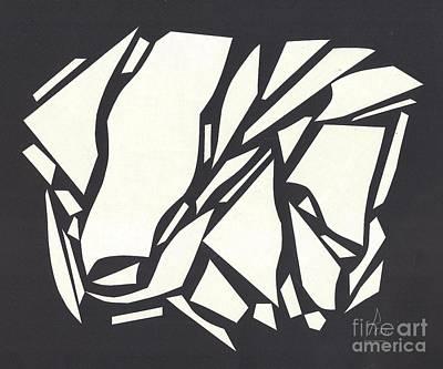 Eliso Digital Art - Abstract Black White by Eliso  Silva