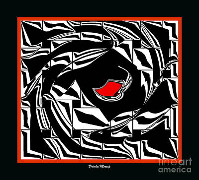 Concentration Digital Art - Abstract Black White Red Art No.30. by Drinka Mercep
