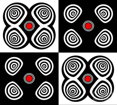Digital Art - Abstract Black White Red Op Art Minimalism No.217  by Drinka Mercep