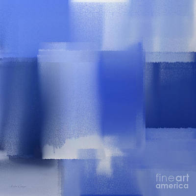 Digital Art - Abstract Blue 1 Square by Andee Design