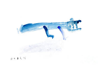 Crocodile Painting - Abstract Blue Crocodile Art Print Watercolor Painting by  Szmerdt
