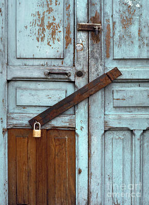 Photograph - Abstract Blue Door - Turquoise Door With Hasp by Sharon Hudson
