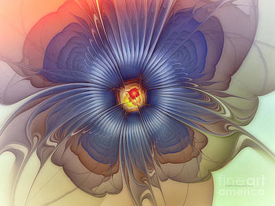 Flower Blooms Digital Art - Abstract Blue Flower In Sunday Dress by Karin Kuhlmann