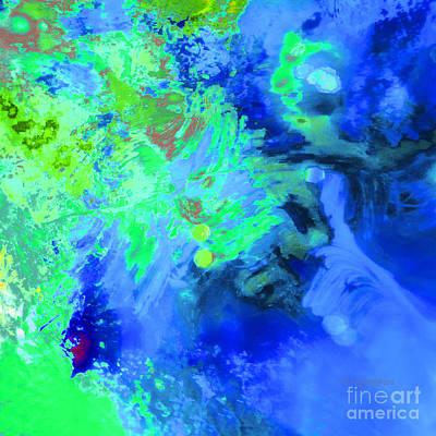 Bath Time - Abstract Bluegreen Colorwash by Regina Geoghan
