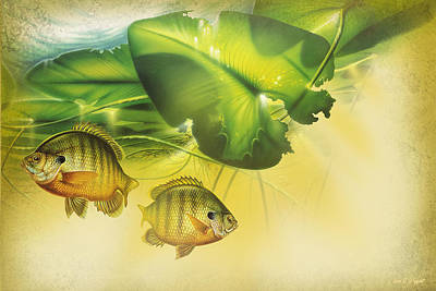 Bluegill Painting - Abstract Blugill by JQ Licensing