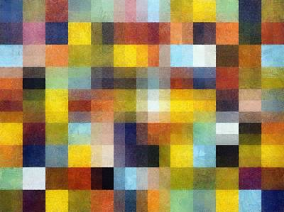 Quilt Collage Painting - Abstract Boxes With Layers by Michelle Calkins
